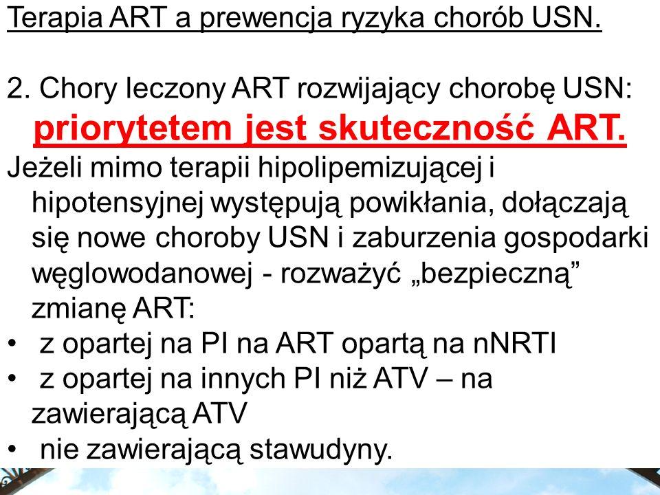 Terapia ART a prewencja ryzyka chorób USN. 2. Chory leczony ART rozwijający chorobę USN: priorytetem jest skuteczność ART. Jeżeli mimo terapii hipolip