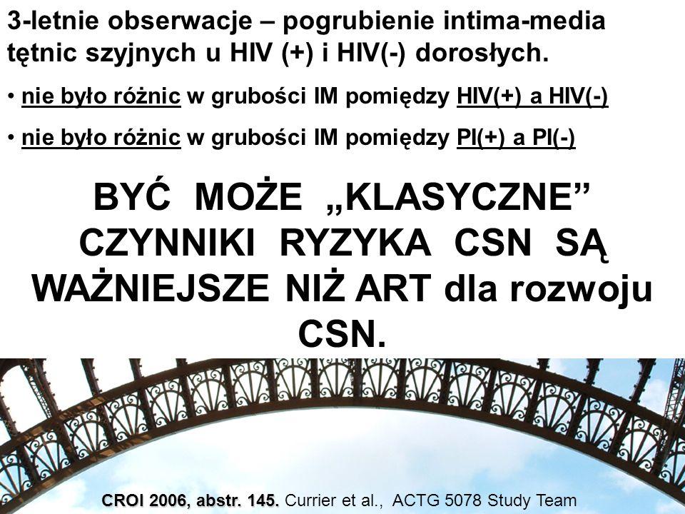 CROI 2006, abstr. 145. CROI 2006, abstr. 145. Currier et al., ACTG 5078 Study Team 3-letnie obserwacje – pogrubienie intima-media tętnic szyjnych u HI