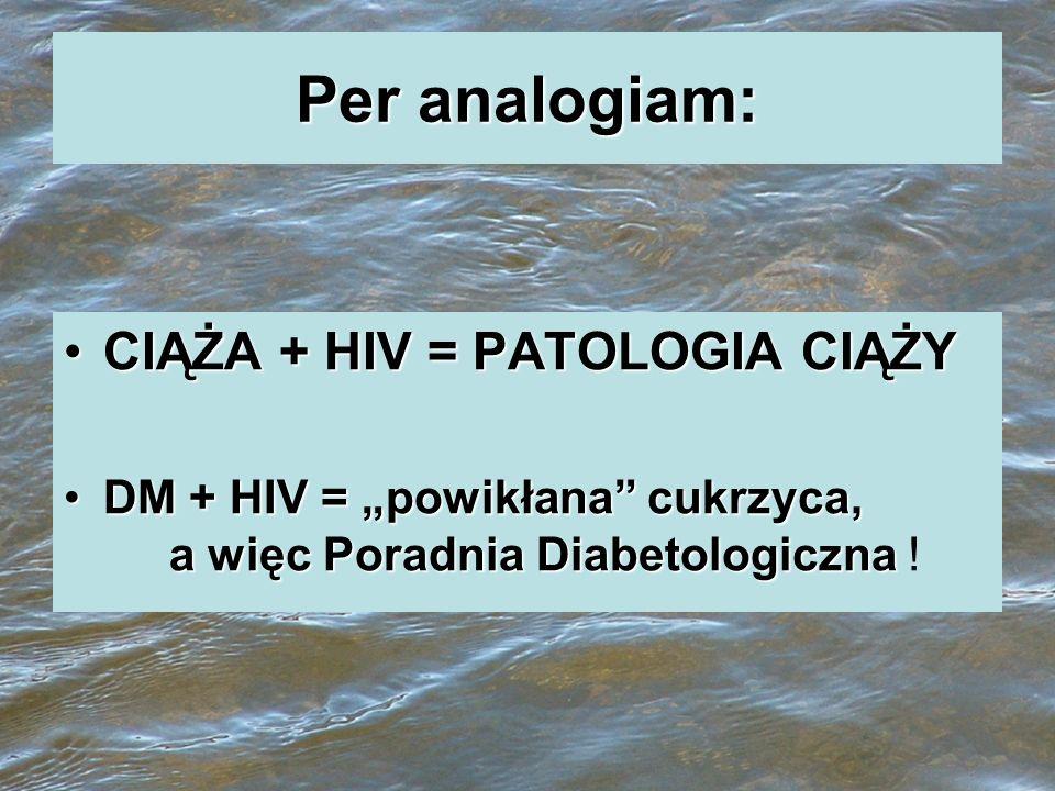 Per analogiam: CIĄŻA + HIV = PATOLOGIA CIĄŻYCIĄŻA + HIV = PATOLOGIA CIĄŻY DM + HIV = powikłana cukrzyca, a więc Poradnia DiabetologicznaDM + HIV = pow