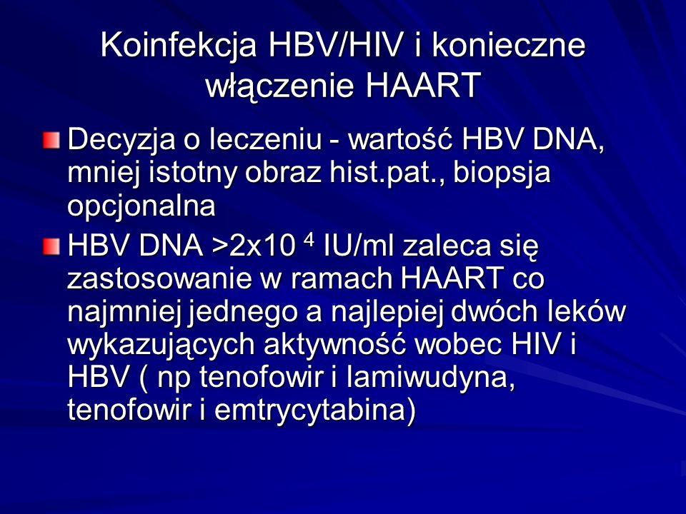 Koinfekcja HBV/HIV i konieczne włączenie HAART Decyzja o leczeniu - wartość HBV DNA, mniej istotny obraz hist.pat., biopsja opcjonalna HBV DNA >2x10 4