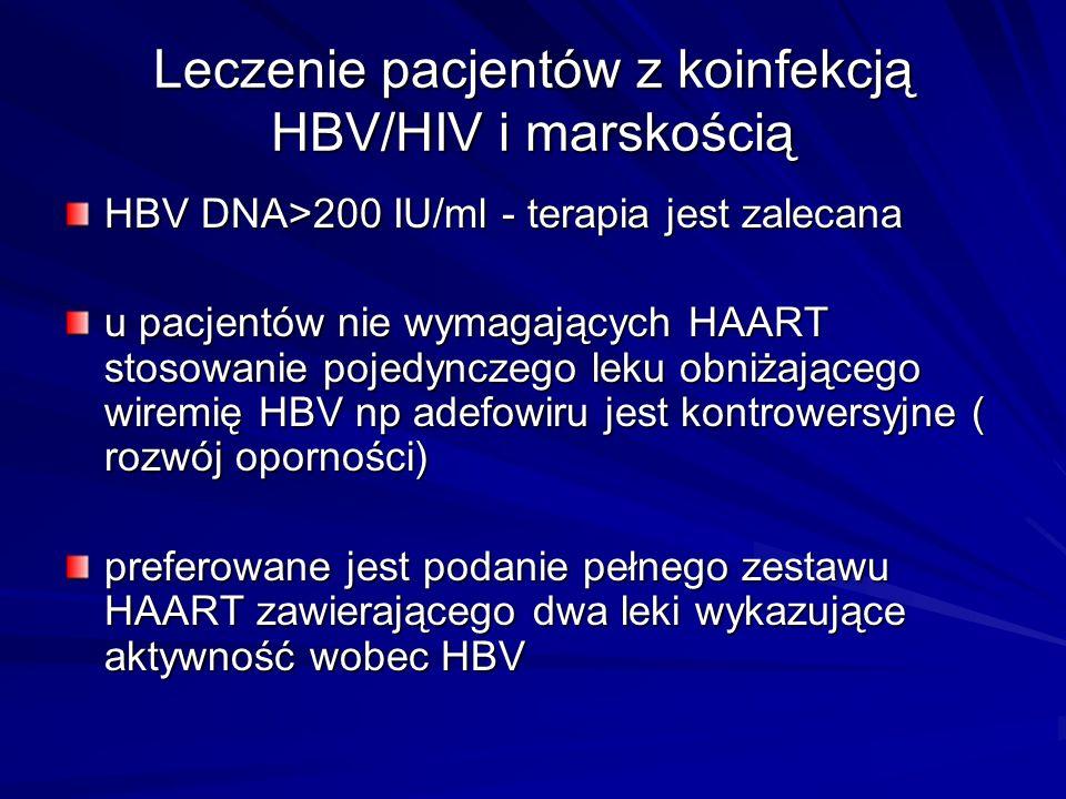 Leczenie pacjentów z koinfekcją HBV/HIV i marskością HBV DNA>200 IU/ml - terapia jest zalecana u pacjentów nie wymagających HAART stosowanie pojedyncz