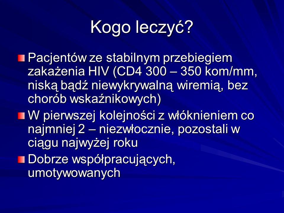 Kogo leczyć? Pacjentów ze stabilnym przebiegiem zakażenia HIV (CD4 300 – 350 kom/mm, niską bądź niewykrywalną wiremią, bez chorób wskaźnikowych) W pie