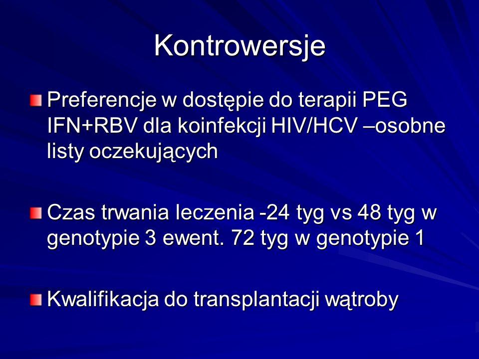 Kontrowersje Preferencje w dostępie do terapii PEG IFN+RBV dla koinfekcji HIV/HCV –osobne listy oczekujących Czas trwania leczenia -24 tyg vs 48 tyg w
