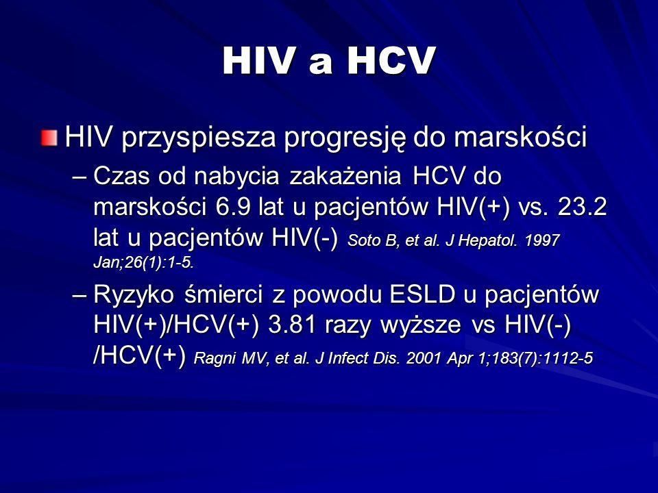 HIV a HCV HIV przyspiesza progresję do marskości –Czas od nabycia zakażenia HCV do marskości 6.9 lat u pacjentów HIV(+) vs. 23.2 lat u pacjentów HIV(-