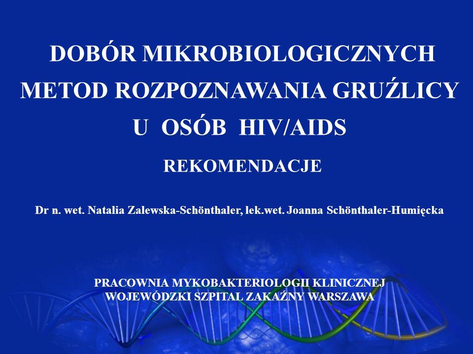 DOBÓR MIKROBIOLOGICZNYCH METOD ROZPOZNAWANIA GRUŹLICY U OSÓB HIV/AIDS REKOMENDACJE Dr n. wet. Natalia Zalewska-Schönthaler, lek.wet. Joanna Schönthale