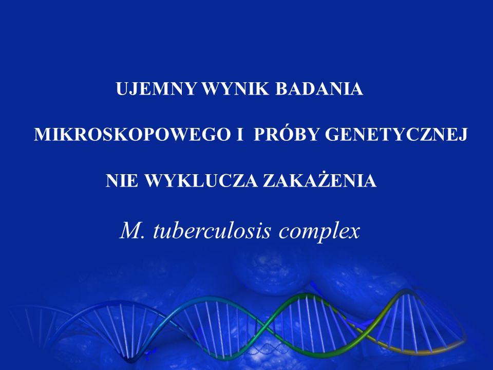 UJEMNY WYNIK BADANIA MIKROSKOPOWEGO I PRÓBY GENETYCZNEJ NIE WYKLUCZA ZAKAŻENIA M. tuberculosis complex