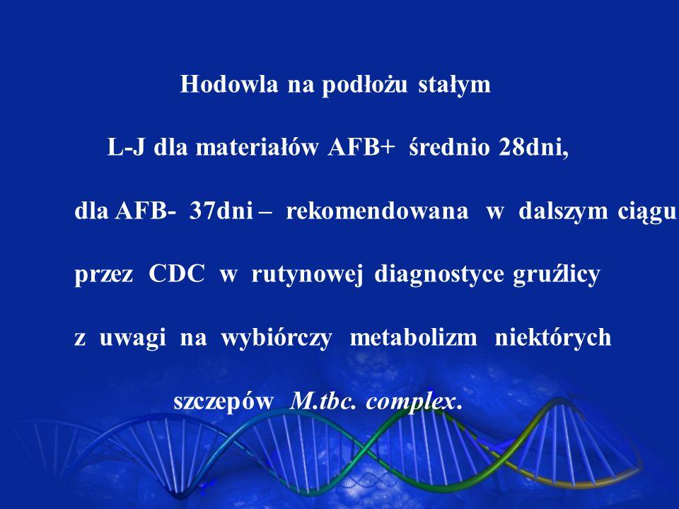 Hodowla na podłożu stałym L-J dla materiałów AFB+ średnio 28dni, dla AFB- 37dni – rekomendowana w dalszym ciągu przez CDC w rutynowej diagnostyce gruź