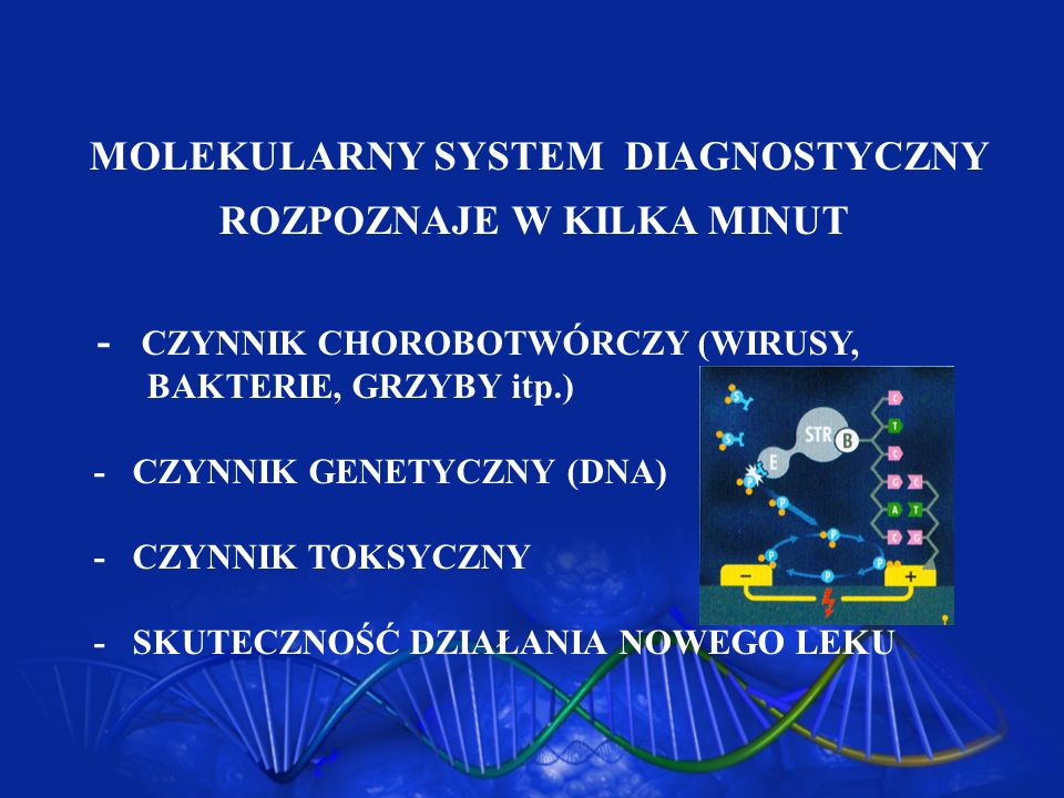 MOLEKULARNY SYSTEM DIAGNOSTYCZNY ROZPOZNAJE W KILKA MINUT - CZYNNIK CHOROBOTWÓRCZY (WIRUSY, BAKTERIE, GRZYBY itp.) - CZYNNIK GENETYCZNY (DNA) - CZYNNI