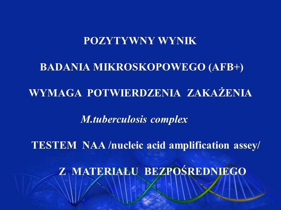 POZYTYWNY WYNIK BADANIA MIKROSKOPOWEGO (AFB+) WYMAGA POTWIERDZENIA ZAKAŻENIA M.tuberculosis complex TESTEM NAA /nucleic acid amplification assey/ Z MA