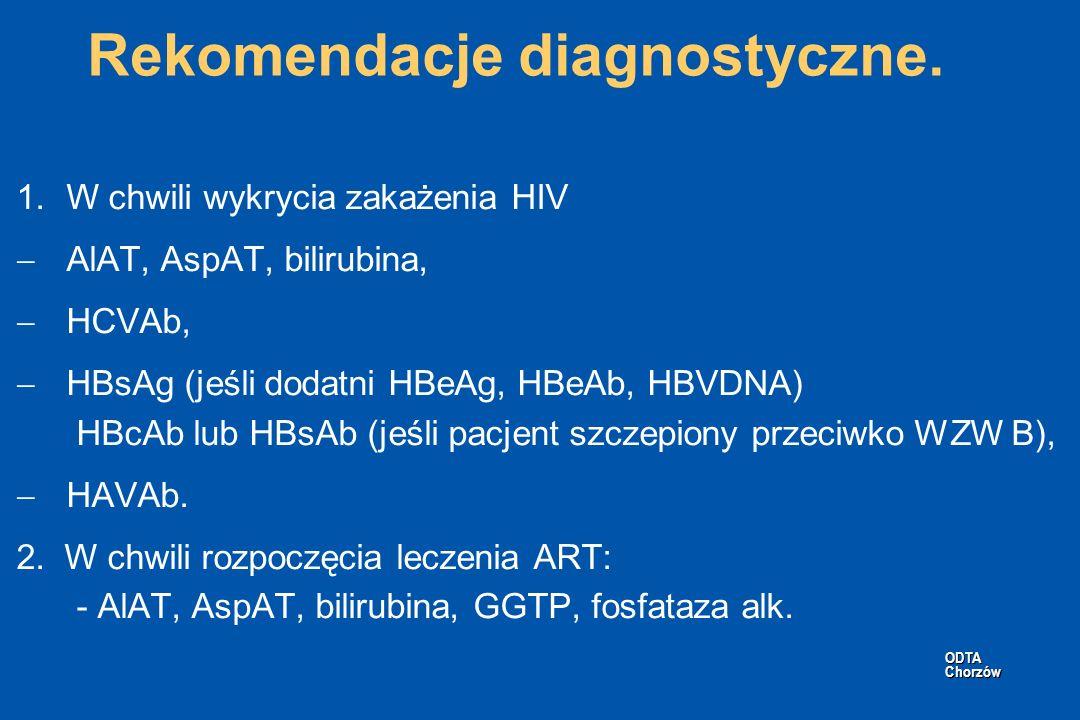 ODTA Chorzów ODTA Chorzów Rekomendacje diagnostyczne. 1.W chwili wykrycia zakażenia HIV AlAT, AspAT, bilirubina, HCVAb, HBsAg (jeśli dodatni HBeAg, HB