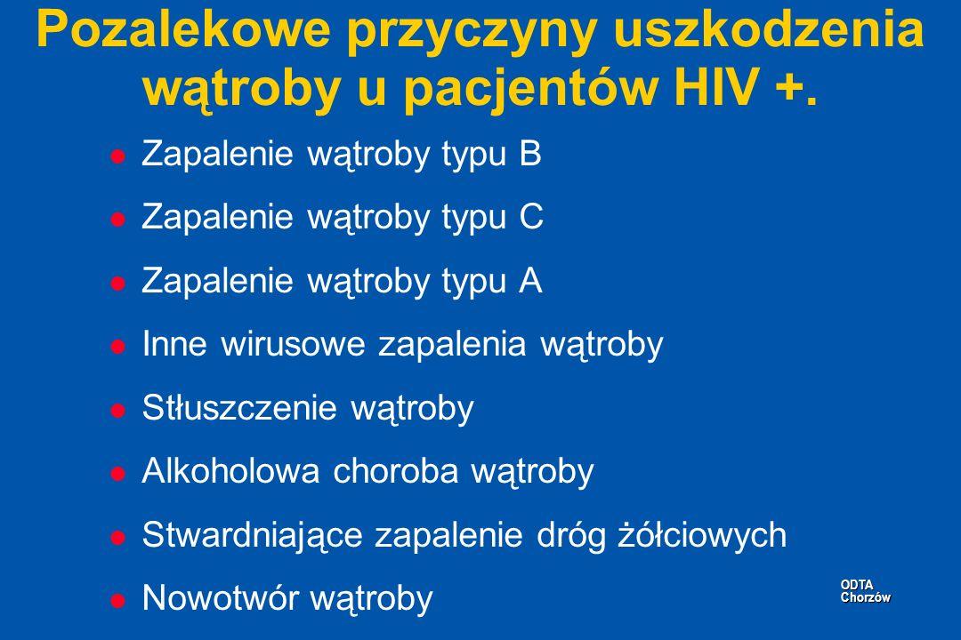 ODTA Chorzów ODTA Chorzów Pozalekowe przyczyny uszkodzenia wątroby u pacjentów HIV +. l Zapalenie wątroby typu B l Zapalenie wątroby typu C l Zapaleni