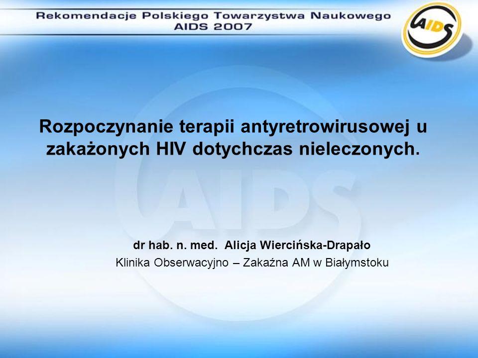 dr hab. n. med. Alicja Wiercińska-Drapało Klinika Obserwacyjno – Zakaźna AM w Białymstoku Rozpoczynanie terapii antyretrowirusowej u zakażonych HIV do
