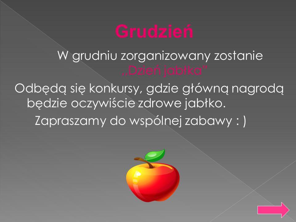 W grudniu zorganizowany zostanie,,Dzień jabłka Odbędą się konkursy, gdzie główną nagrodą będzie oczywiście zdrowe jabłko. Zapraszamy do wspólnej zabaw