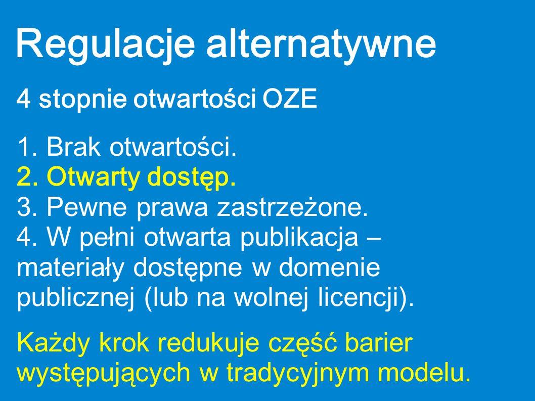 Regulacje alternatywne 4 stopnie otwartości OZE 1. Brak otwartości. 2. Otwarty dostęp. 3. Pewne prawa zastrzeżone. 4. W pełni otwarta publikacja – mat