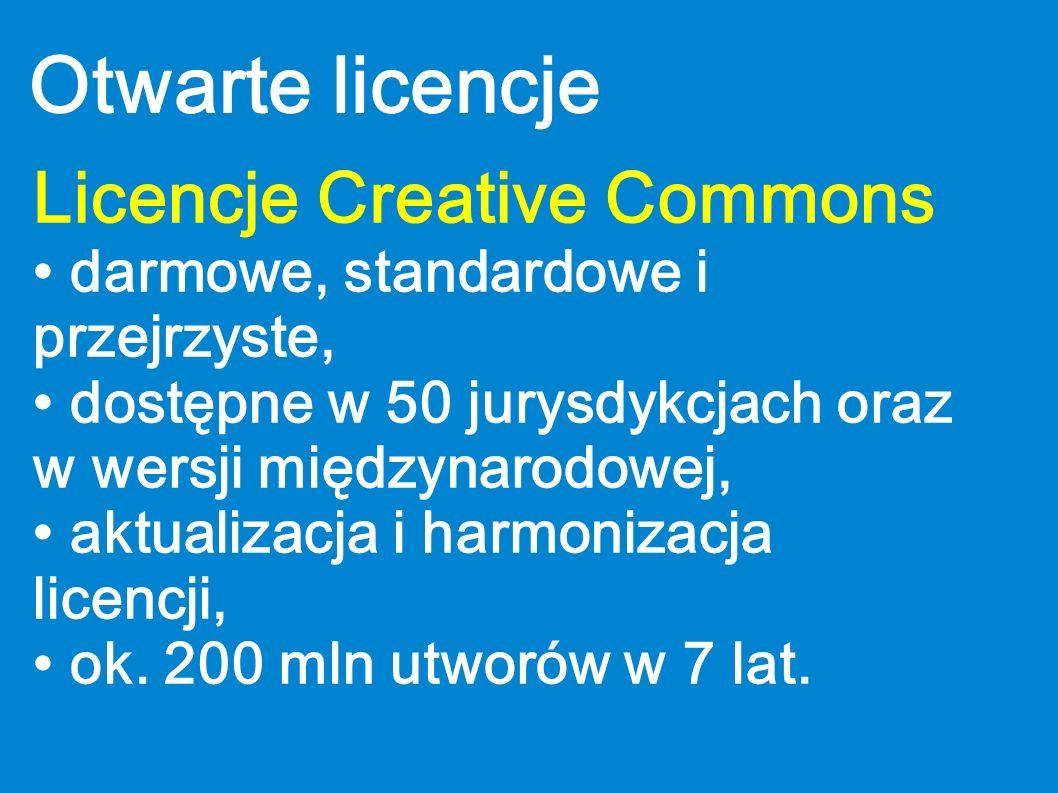 Otwarte licencje Licencje Creative Commons darmowe, standardowe i przejrzyste, dostępne w 50 jurysdykcjach oraz w wersji międzynarodowej, aktualizacja