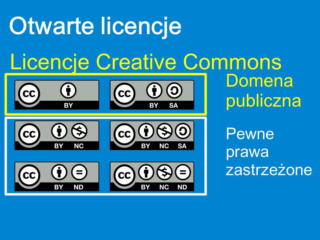 Otwarte licencje Licencje Creative Commons Domena publiczna Pewne prawa zastrzeżone