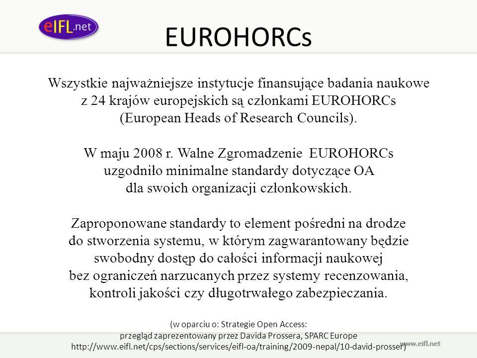 EUROHORCs Wszystkie najważniejsze instytucje finansujące badania naukowe z 24 krajów europejskich są członkami EUROHORCs (European Heads of Research C