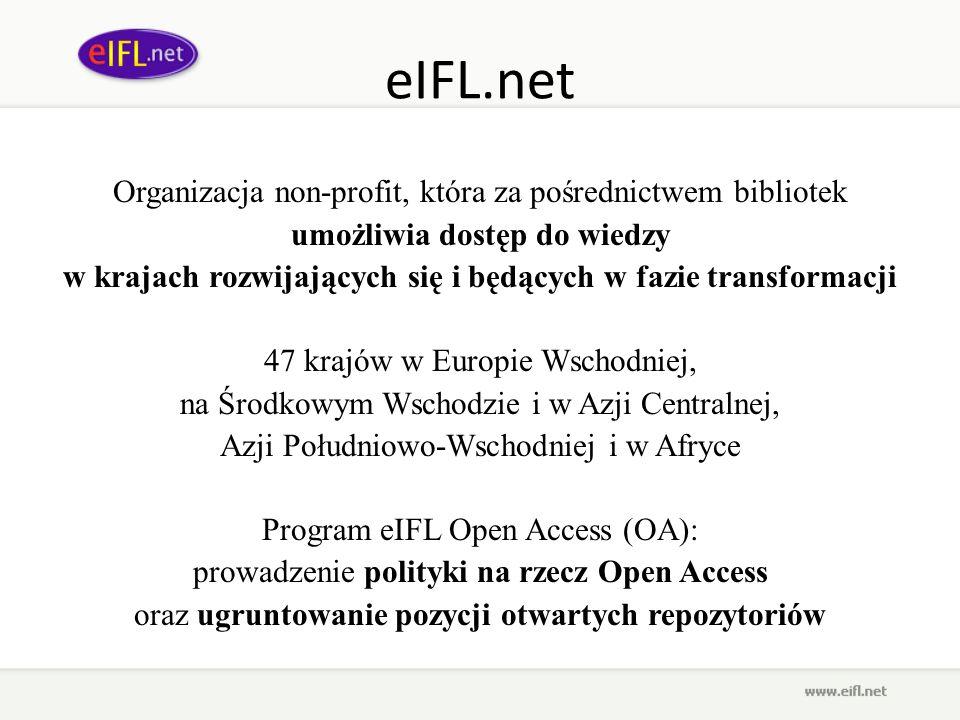 eIFL.net Organizacja non-profit, która za pośrednictwem bibliotek umożliwia dostęp do wiedzy w krajach rozwijających się i będących w fazie transforma
