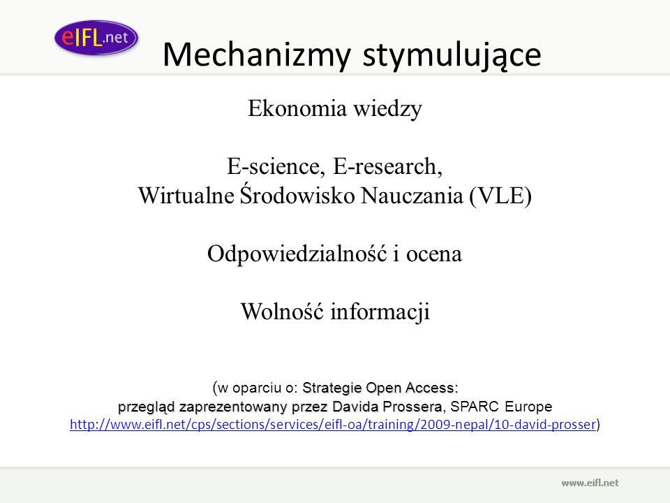 Mechanizmy stymulujące Ekonomia wiedzy E-science, E-research, Wirtualne Środowisko Nauczania (VLE) Odpowiedzialność i ocena Wolność informacji Strateg