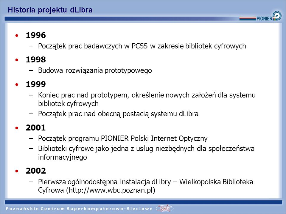 Historia projektu dLibra 2002 -...
