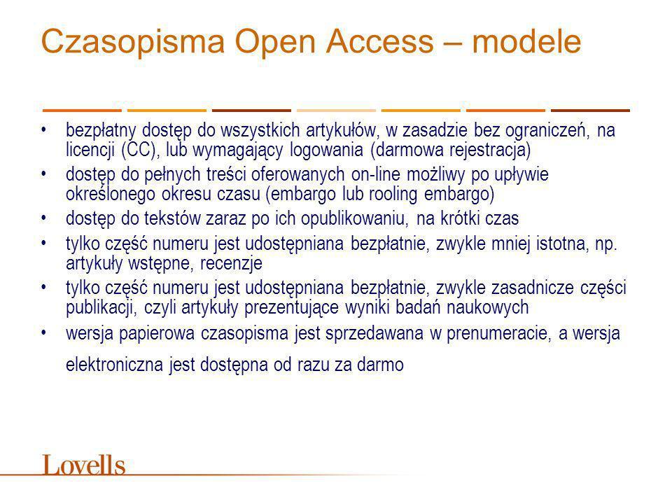 Czasopisma Open Access - relacja wydawca - czytelnik nieograniczone wykorzystanie, rozpowszechnianie i reprodukcja artykułów, pod warunkiem właściwego cytowania, czyli podania źródła – często stosowana jest licencja CC Uznanie autorstwa wykorzystanie tekstu musi mieć związek z prowadzonymi badaniami naukowymi bądź działalnością edukacyjną zdarza się, że wydawca wprowadza ograniczenia dla komercyjnego wykorzystania tekstu bądź nakazuje uzyskanie zgody na takie wykorzystanie ograniczeniu może być poddana ilość kopiowanego materiału