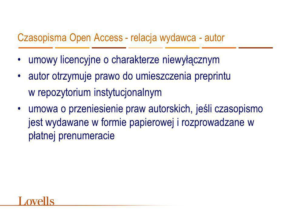 Czasopisma Open Access – rozwiązania polskie wersja internetowa dodatkiem do wersji papierowej umowy o przeniesienie praw autorskich brak informacji na temat warunków, na jakich udostępnia się pełne teksty w Internecie