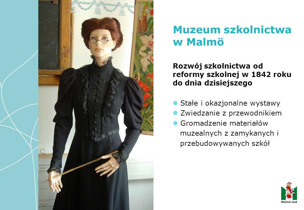 Rozwój szkolnictwa od reformy szkolnej w 1842 roku do dnia dzisiejszego Stałe i okazjonalne wystawy Zwiedzanie z przewodnikiem Gromadzenie materiałów muzealnych z zamykanych i przebudowywanych szkół Muzeum szkolnictwa w Malmö