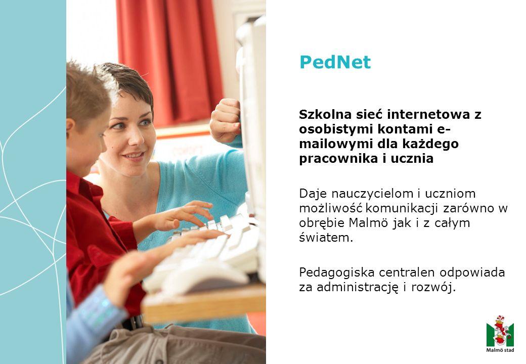 Szkolna sieć internetowa z osobistymi kontami e- mailowymi dla każdego pracownika i ucznia Daje nauczycielom i uczniom możliwość komunikacji zarówno w obrębie Malmö jak i z całym światem.