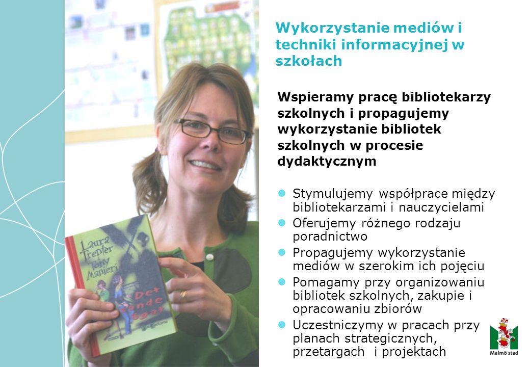 Wykorzystanie mediów i techniki informacyjnej w szkołach Wspieramy prac ę bibliotekarzy szkolnych i propagujemy wykorzystanie bibliotek szkolnych w procesie dydaktycznym Stymulujemy współprace między bibliotekarzami i nauczycielami Oferujemy różnego rodzaju poradnictwo Propagujemy wykorzystanie mediów w szerokim ich pojęciu Pomagamy przy organizowaniu bibliotek szkolnych, zakupie i opracowaniu zbiorów Uczestniczymy w pracach przy planach strategicznych, przetargach i projektach