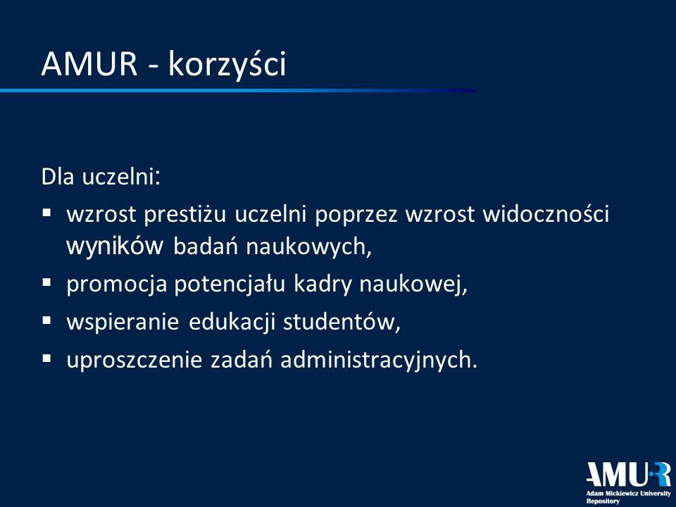 AMUR - korzyści Dla uczelni : wzrost prestiżu uczelni poprzez wzrost widoczności wyników badań naukowych, promocja potencjału kadry naukowej, wspieran