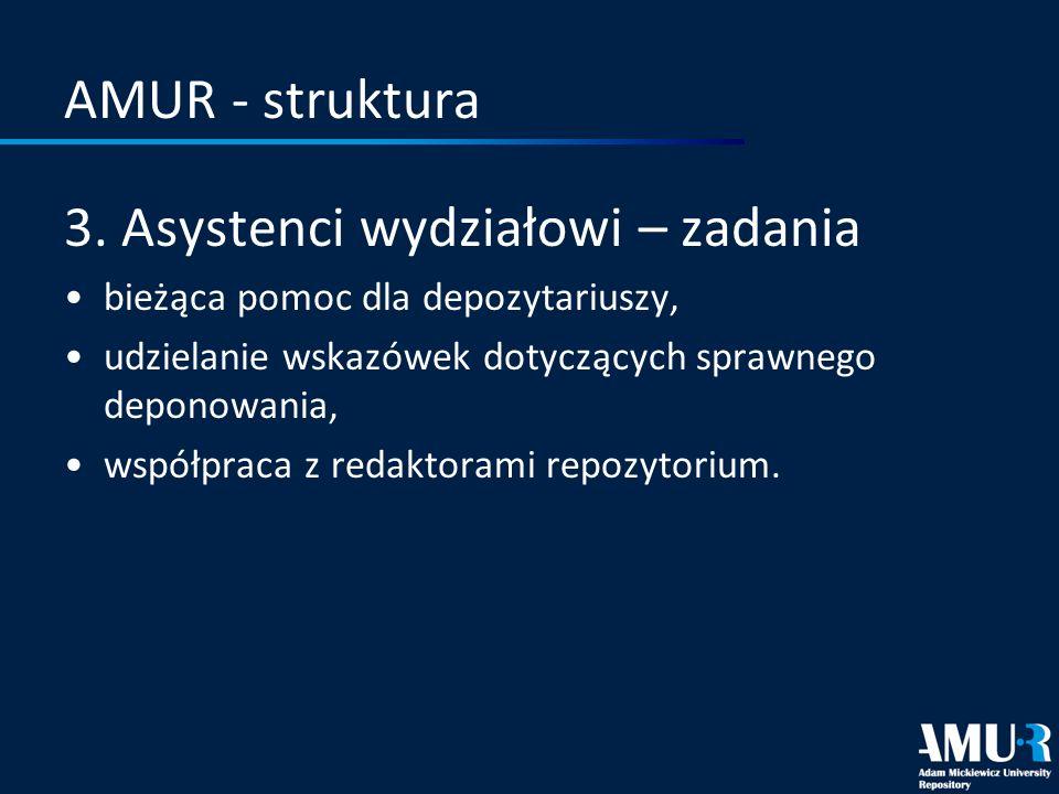 AMUR - struktura 3. Asystenci wydziałowi – zadania bieżąca pomoc dla depozytariuszy, udzielanie wskazówek dotyczących sprawnego deponowania, współprac