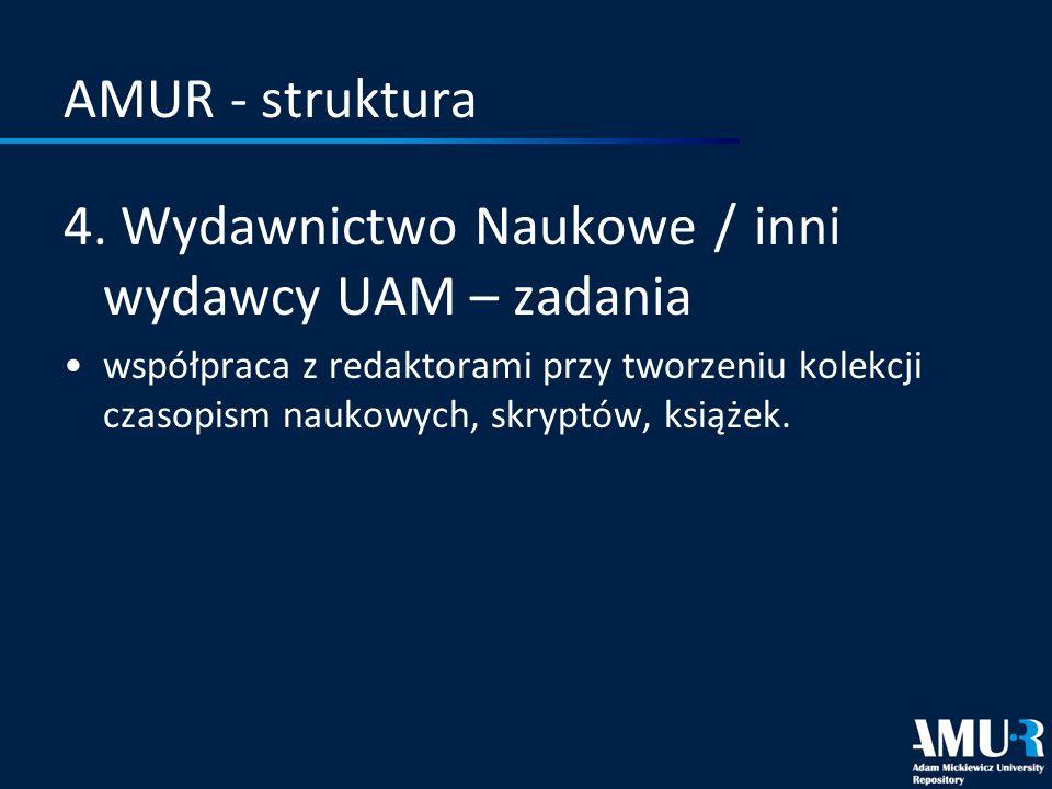 AMUR - struktura 4. Wydawnictwo Naukowe / inni wydawcy UAM – zadania współpraca z redaktorami przy tworzeniu kolekcji czasopism naukowych, skryptów, k