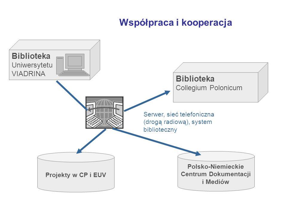 Polsko-Niemieckie Centrum Dokumentacji i Mediów Współpraca i kooperacja Biblioteka Uniwersytetu VIADRINA Biblioteka Collegium Polonicum Serwer, sieć telefoniczna (drogą radiową), system biblioteczny Projekty w CP i EUV