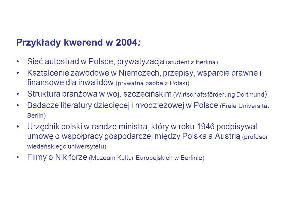 Przykłady kwerend w 2004: Sieć autostrad w Polsce, prywatyzacja (student z Berlina) Kształcenie zawodowe w Niemczech, przepisy, wsparcie prawne i finansowe dla inwalidów (prywatna osoba z Polski) Struktura branżowa w woj.