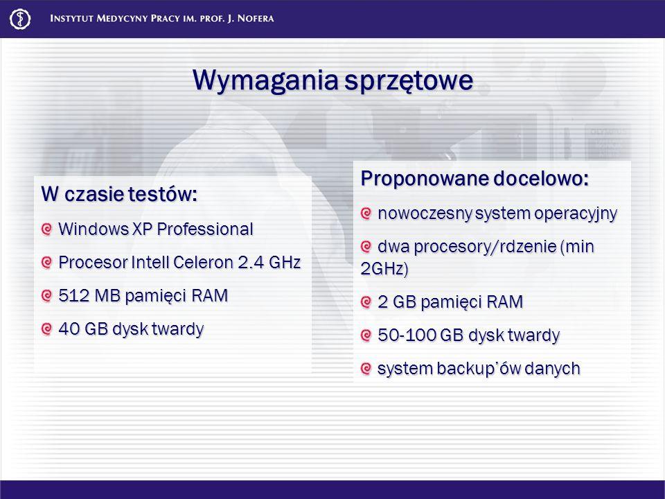 Wymagania sprzętowe W czasie testów: Windows XP Professional Windows XP Professional Procesor Intell Celeron 2.4 GHz Procesor Intell Celeron 2.4 GHz 5