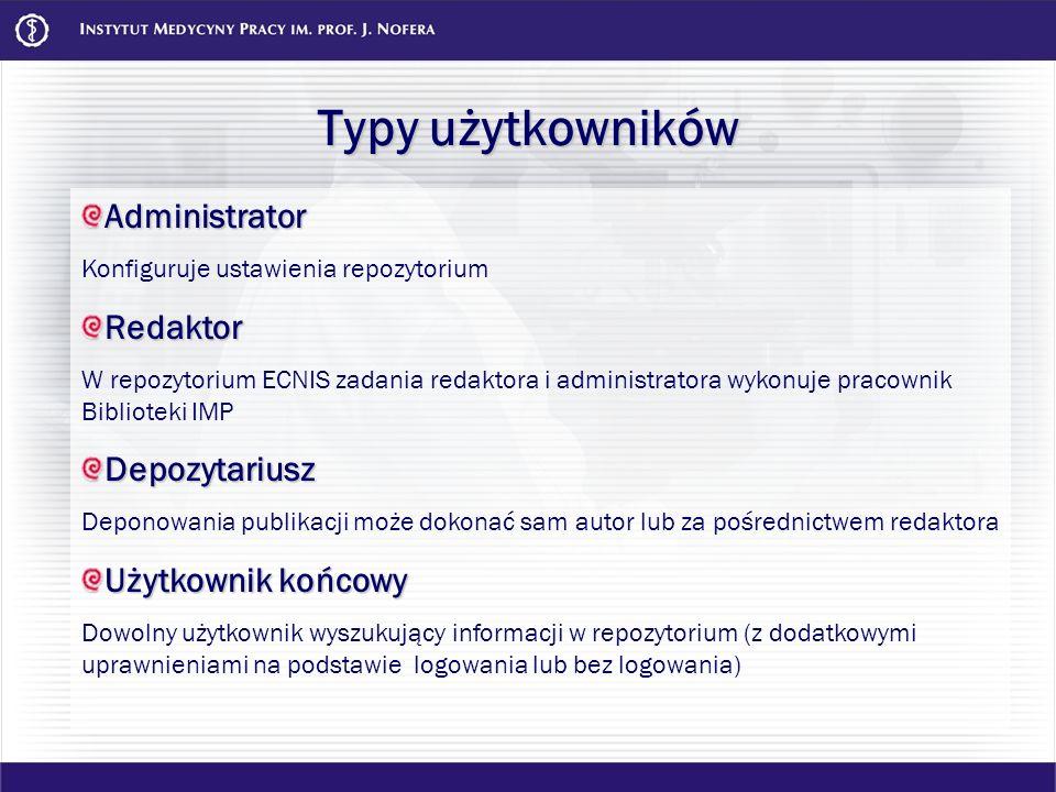 Typy użytkowników Administrator Konfiguruje ustawienia repozytoriumRedaktor W repozytorium ECNIS zadania redaktora i administratora wykonuje pracownik
