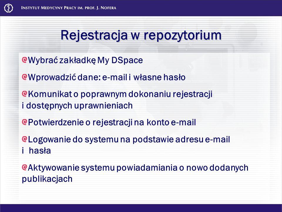 Rejestracja w repozytorium Wybrać zakładkę My DSpace Wprowadzić dane: e-mail i własne hasło Komunikat o poprawnym dokonaniu rejestracji i dostępnych u