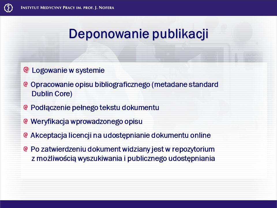 Deponowanie publikacji Logowanie w systemie Opracowanie opisu bibliograficznego (metadane standard Dublin Core) Podłączenie pełnego tekstu dokumentu W