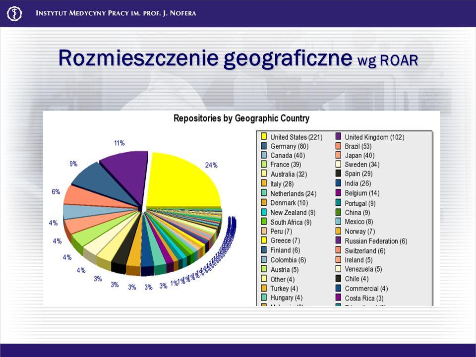 Rozmieszczenie geograficzne wg ROAR