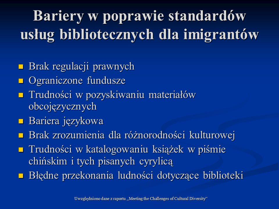 Bariery w poprawie standardów usług bibliotecznych dla imigrantów Brak regulacji prawnych Brak regulacji prawnych Ograniczone fundusze Ograniczone fun