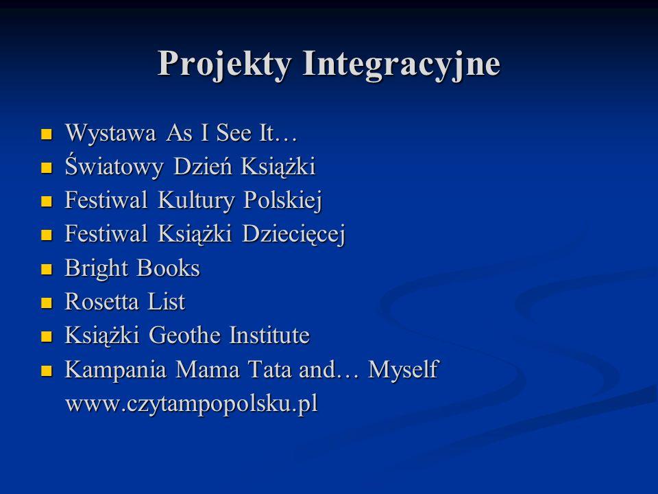 Projekty Integracyjne Wystawa As I See It… Wystawa As I See It… Światowy Dzień Książki Światowy Dzień Książki Festiwal Kultury Polskiej Festiwal Kultu