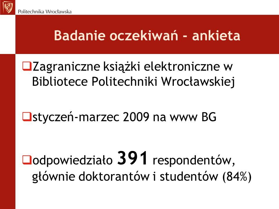 Badanie oczekiwań - ankieta Zagraniczne książki elektroniczne w Bibliotece Politechniki Wrocławskiej styczeń-marzec 2009 na www BG odpowiedziało 391 r