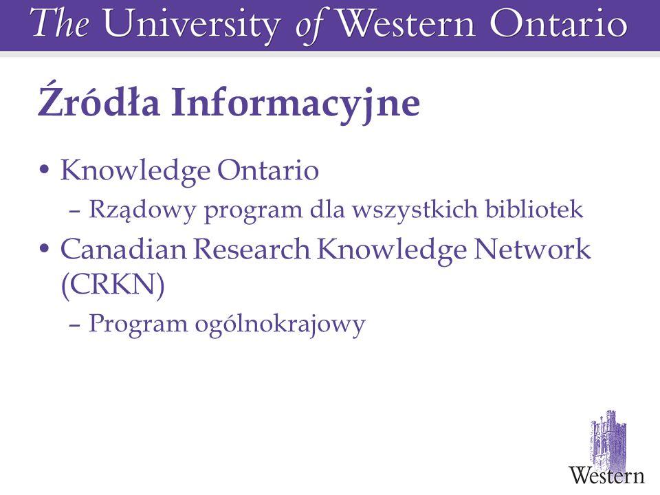 Źródła Informacyjne Knowledge Ontario –Rządowy program dla wszystkich bibliotek Canadian Research Knowledge Network (CRKN) –Program ogólnokrajowy