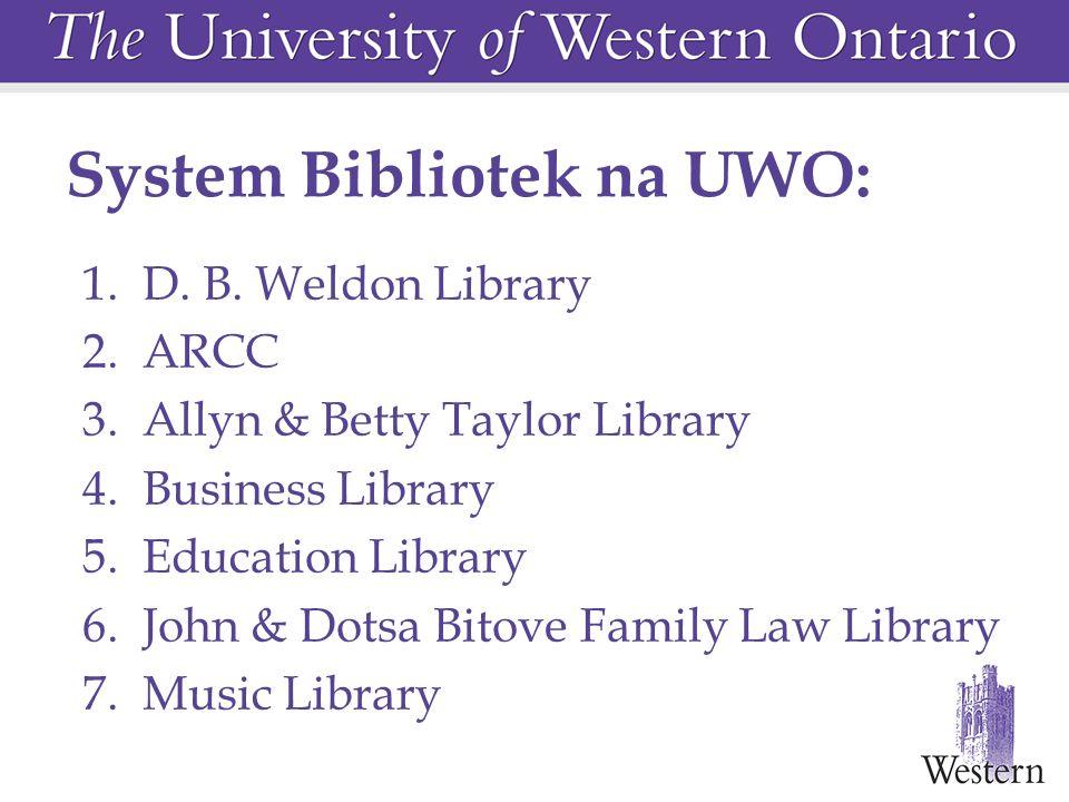 System Bibliotek na UWO: 1. D. B. Weldon Library 2.