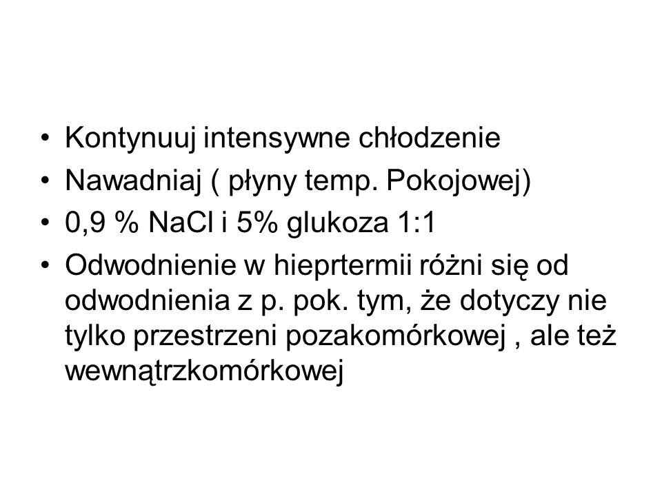 Kontynuuj intensywne chłodzenie Nawadniaj ( płyny temp. Pokojowej) 0,9 % NaCl i 5% glukoza 1:1 Odwodnienie w hieprtermii różni się od odwodnienia z p.