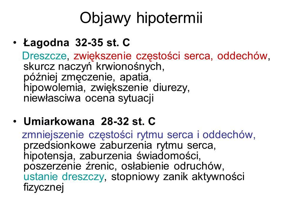 Objawy hipotermii Łagodna 32-35 st. C Dreszcze, zwiększenie częstości serca, oddechów, skurcz naczyń krwionośnych, później zmęczenie, apatia, hipowole