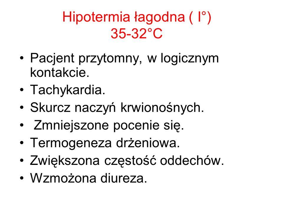 Hipotermia łagodna ( I°) 35-32°C Pacjent przytomny, w logicznym kontakcie. Tachykardia. Skurcz naczyń krwionośnych. Zmniejszone pocenie się. Termogene
