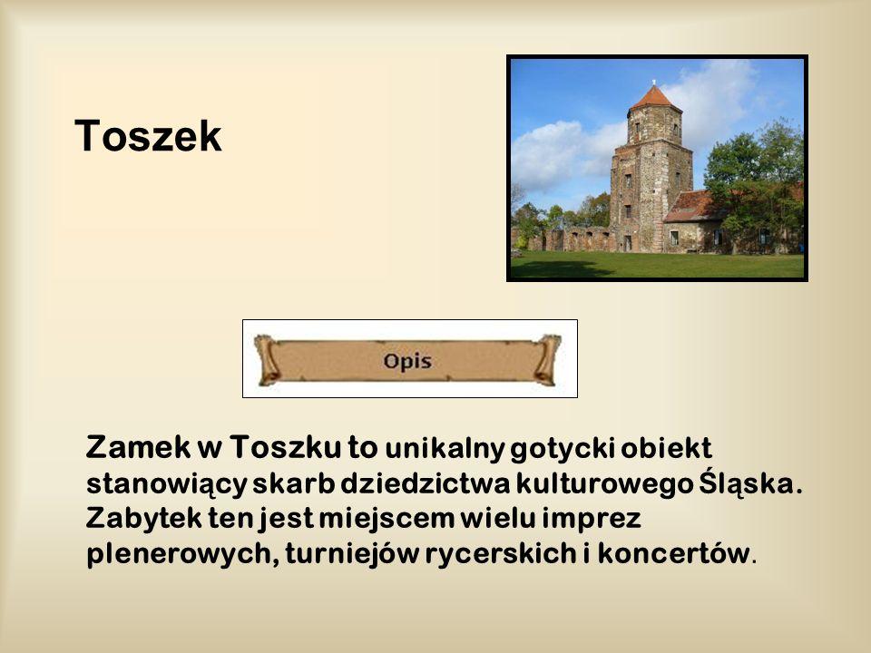 Toszek Zamek w Toszku to unikalny gotycki obiekt stanowi ą cy skarb dziedzictwa kulturowego Ś l ą ska. Zabytek ten jest miejscem wielu imprez plenerow