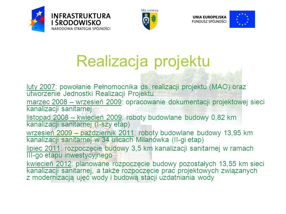 Realizacja projektu luty 2007: powołanie Pełnomocnika ds. realizacji projektu (MAO) oraz utworzenie Jednostki Realizacji Projektu marzec 2008 – wrzesi