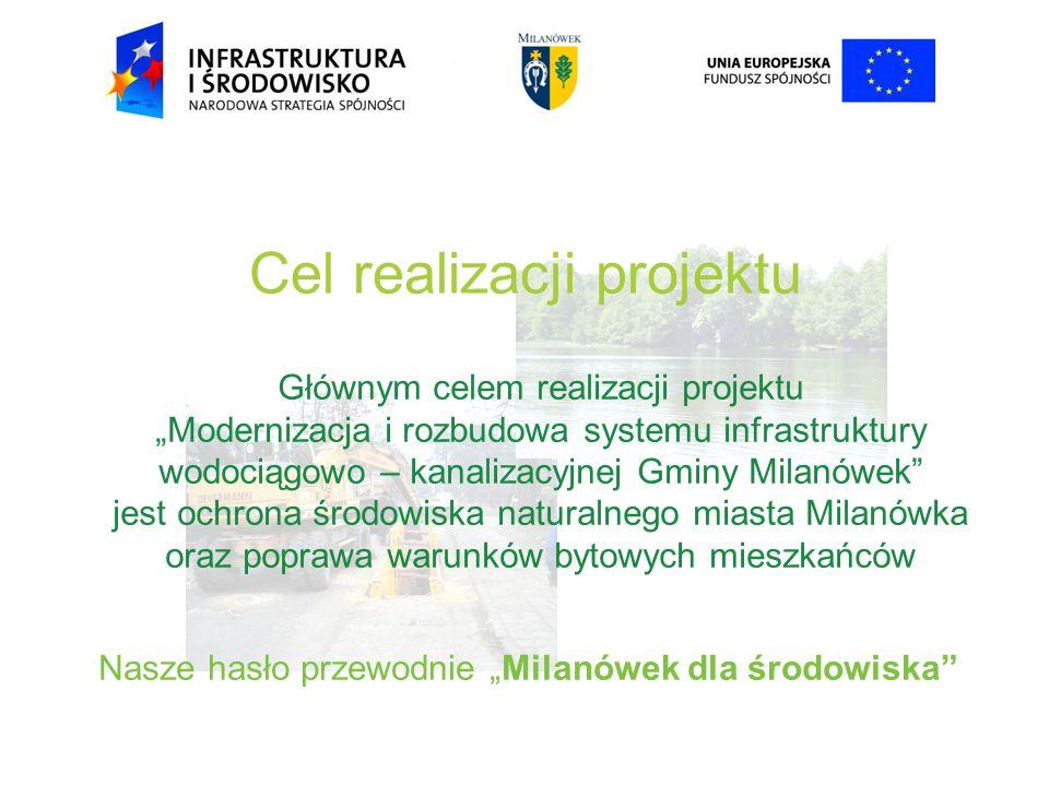 Cel realizacji projektu Głównym celem realizacji projektu Modernizacja i rozbudowa systemu infrastruktury wodociągowo – kanalizacyjnej Gminy Milanówek